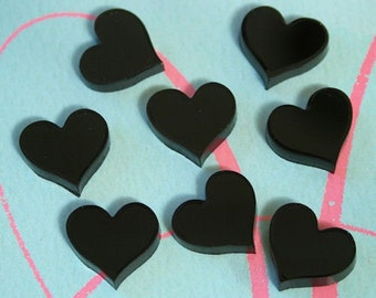8 x laser cut acrylic heart cabochons