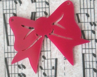 3 x laser cut acrylic bow pendants - any colour