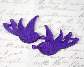 Pair of large laser cut acrylic swallow charms
