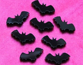 8 x Laser cut acrylic bat cabochons
