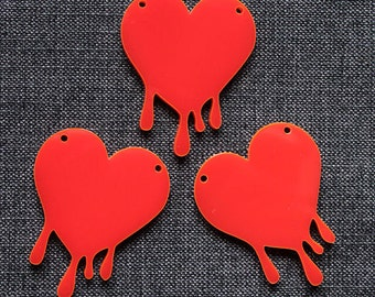 3 x Laser cut acrylic bleeding heart pendants