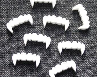 8 x laser cut acrylic vampire teeth cabochon