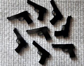 8 x Laser cut acrylic pistol cabochons