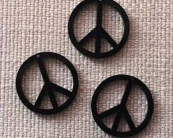 3 x Laser cut acrylic peace sign pendants