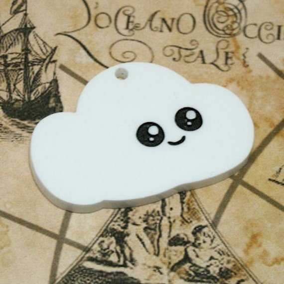 Laser cut acrylic kawaii cloud pendant x 2