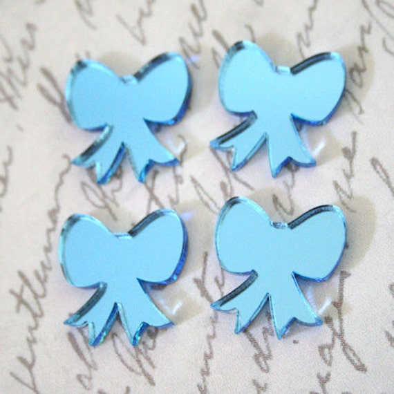 4 x laser cut acrylic mirrored bow cabochons