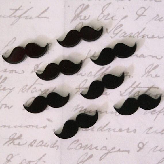 20 x Laser cut acrylic moustache cabochons