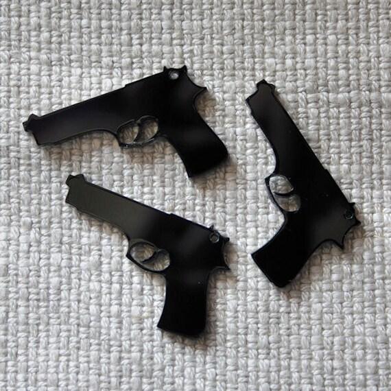3 x Laser cut acrylic Pistol pendants
