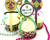 Mardi Gras Printable Cupcake Wrapper, Toppers, and Picks