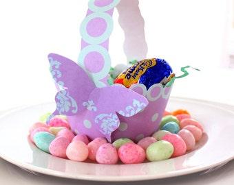 Lilac and Aqua Printable Polka Dot Basket