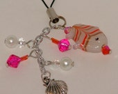 Bag, Purse, Phone charm with Indian glass beads in pink, white and silver