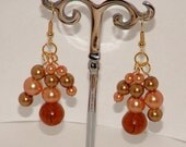 Autumn pearl earrings with glass beads and faux pearls