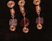 Set of 3 Copper dreadlock or braid cuffs beads with spirals