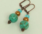 Copper And Turquoise Dangle Earrings With Swarovski Pearls