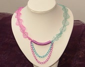 Pink And Blue Knitted Wire Necklace