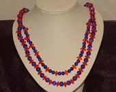 Orange and purple two strand necklace