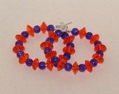 Orange And Purple Hoop Earrings