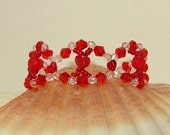 Looped Red and White Crystal And Glass Heart Bracelet