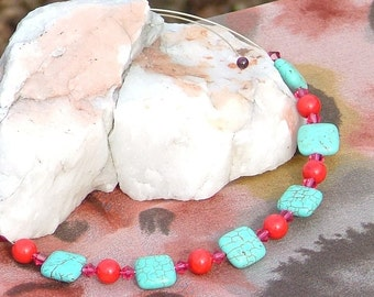 Silver choker necklace with turquoise, coral and garnets