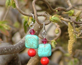 Silver dangle earrings with turquoise, coral and Swarovski crystals