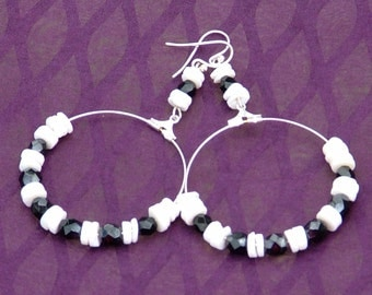 Big dangle earrings with silver hoop and black and white beads