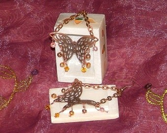 Antiqued Copper Butterfly Earrings With Swarovski Crystals And Metallic Beads