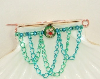 Copper brooch pin with blue and green metallic beads cloisonne and chain