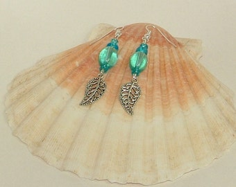 Pale Blue Earrings With Silver Filigree Leaf Charm