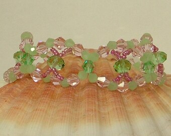 Looped Pink and Green Crystal Bracelet