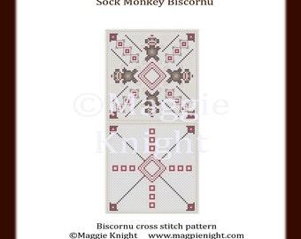 Sock Monkey Biscornu PDF cross stitch pattern