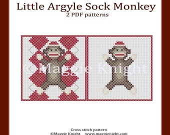 Little Sock Monkey original 2 PDF cross stitch patterns