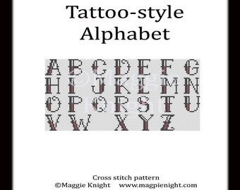 Tattoo-style Alphabet letters PDF cross stitch pattern