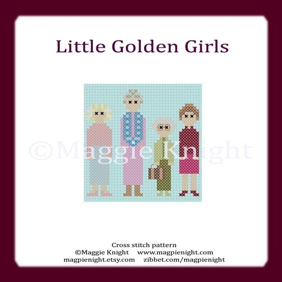 Little Golden Girls original PDF cross stitch pattern