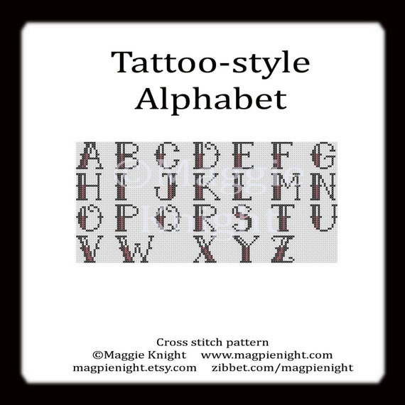 Tattoo-style Alphabet letters PDF cross stitch pattern
