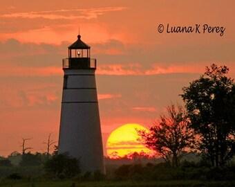 Lighthouse Photo - Madisonville Sunset Photo