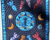 Sea Goddess Quilted  Handmade Wall hanging Quilt