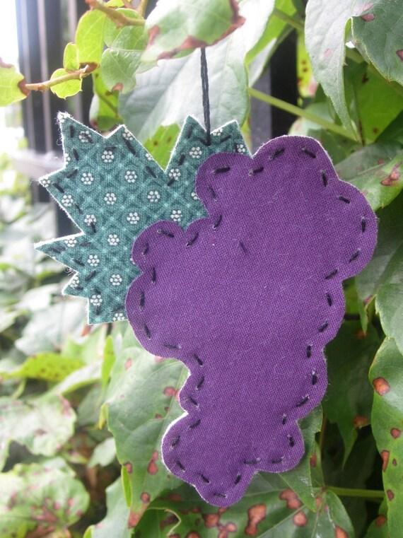 Hand Stitched Grape Ornament