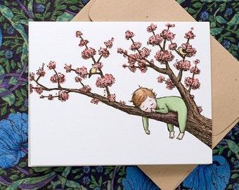 Cherry Blossom Baby,  Green Sleeper, individual card.