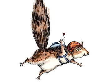 Skydiver Squirrel, 8 x 10 art print