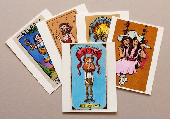 Freakshow, set of 10 sweet and quirky greeting cards