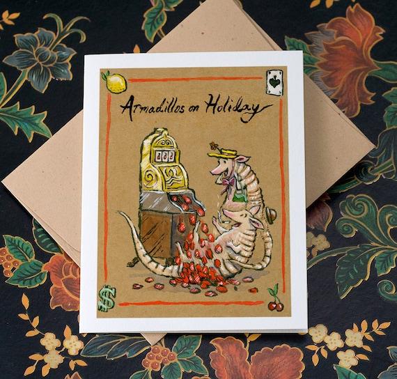 The Armadillos on Holiday, individual card.