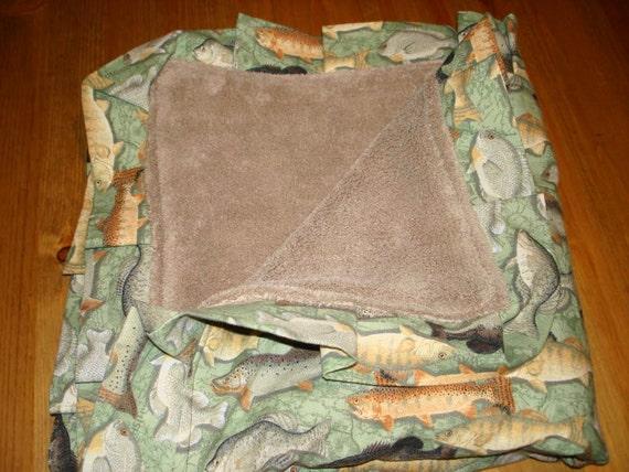 SALE Gone Fishing with ruffle edge Blanket 23X23