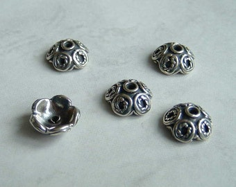 2 Bali Sterling Silver Bead Caps - 4.5mm x 9mm
