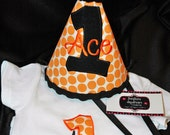 1st Birthday polka dot Hat & Onsie Combo Set- Orange and Black or made with your colors or Party theme