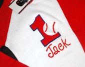 1st Birthday Shirt Baseball shirt number 1 and name personalized Raglan Long Sleeve