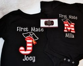 Pirate Shirt  First Mate Onsie or  Birthday Shirt  Choose your INITIAL and your First Mate NAME