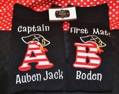 Pirate Shirt Captain shirt or First Mate Shirt /Onsie with Initial and age on hat  Choose your INITIAL and your First Mate NAME