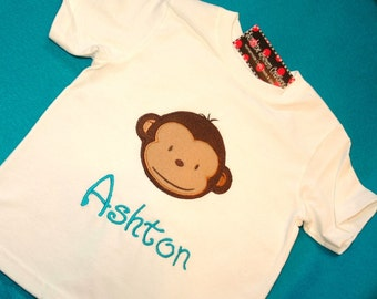 Birthday Shirt BIG Face Mod Monkey Shirt Short Sleeve
