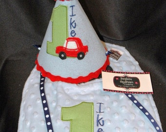 1st Birthday Hat and Bib Combo Set Car-Auto Theme or have me create a set in your theme and colors