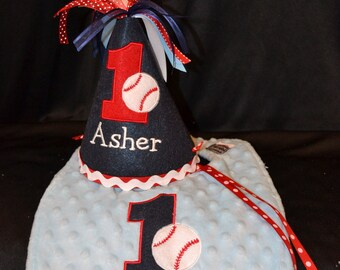 1st Birthday Hat and Bib Combo Set Baseball Theme or have me create a set in your theme and colors